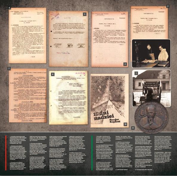 Plansza przedstawiająca archiwalne domkumenty oraz fotografie związane z relacjami Tarnowa i Węgier.